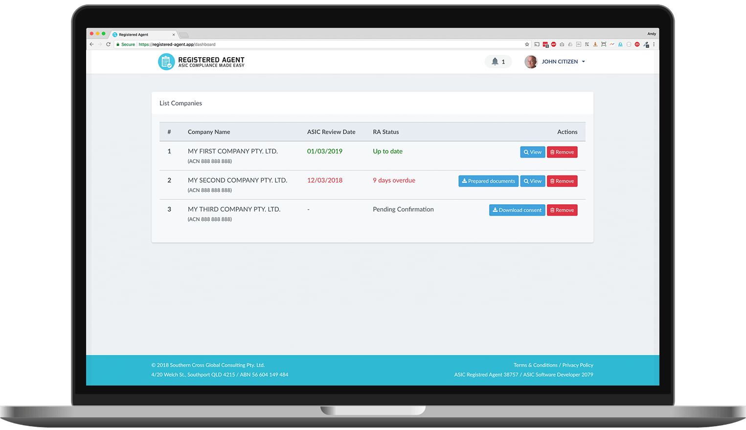 ASIC Registered Agent Dashboard